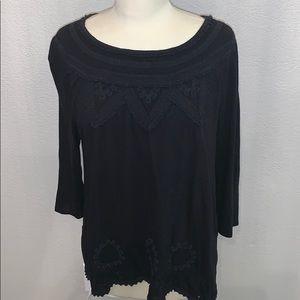 Lucky Brand black 3/4 sleeve shirt sz XL
